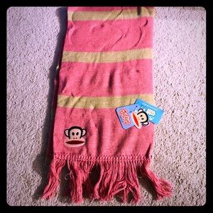 NWT PAUL FRANK DUSTY ROSE PINK STRIPED SCARF